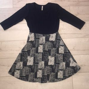 GILLI medium tweed cott dress navy qlength sleeve